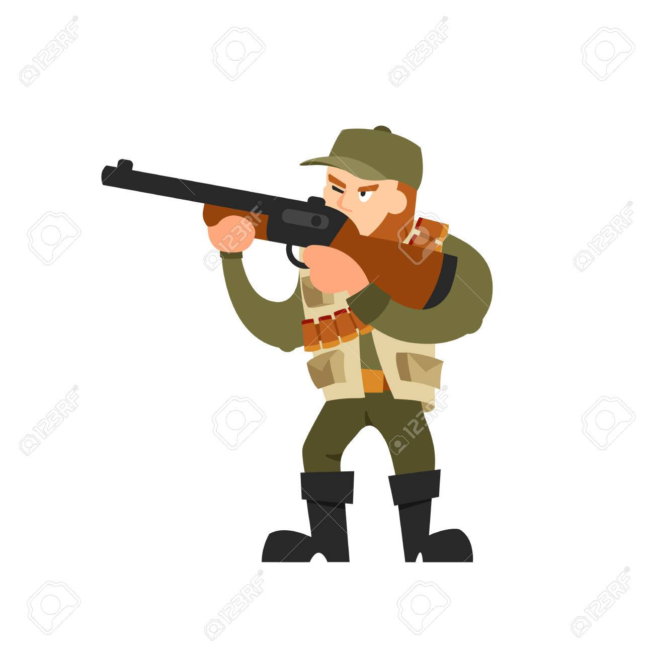 Hunter vector illustration. Hunter isolated on white background. Hunter vector icon illustration. Hunter isolated vector. Hunter silhouette. Hunter in cartoon style. Hunter with a gun and ammunition. - 60009700