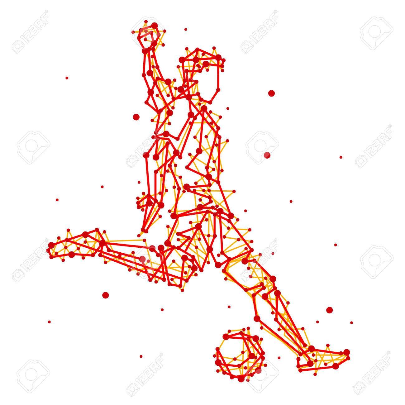 孤立した背景に抽象的なサッカー選手のイラスト実行キック攻撃します