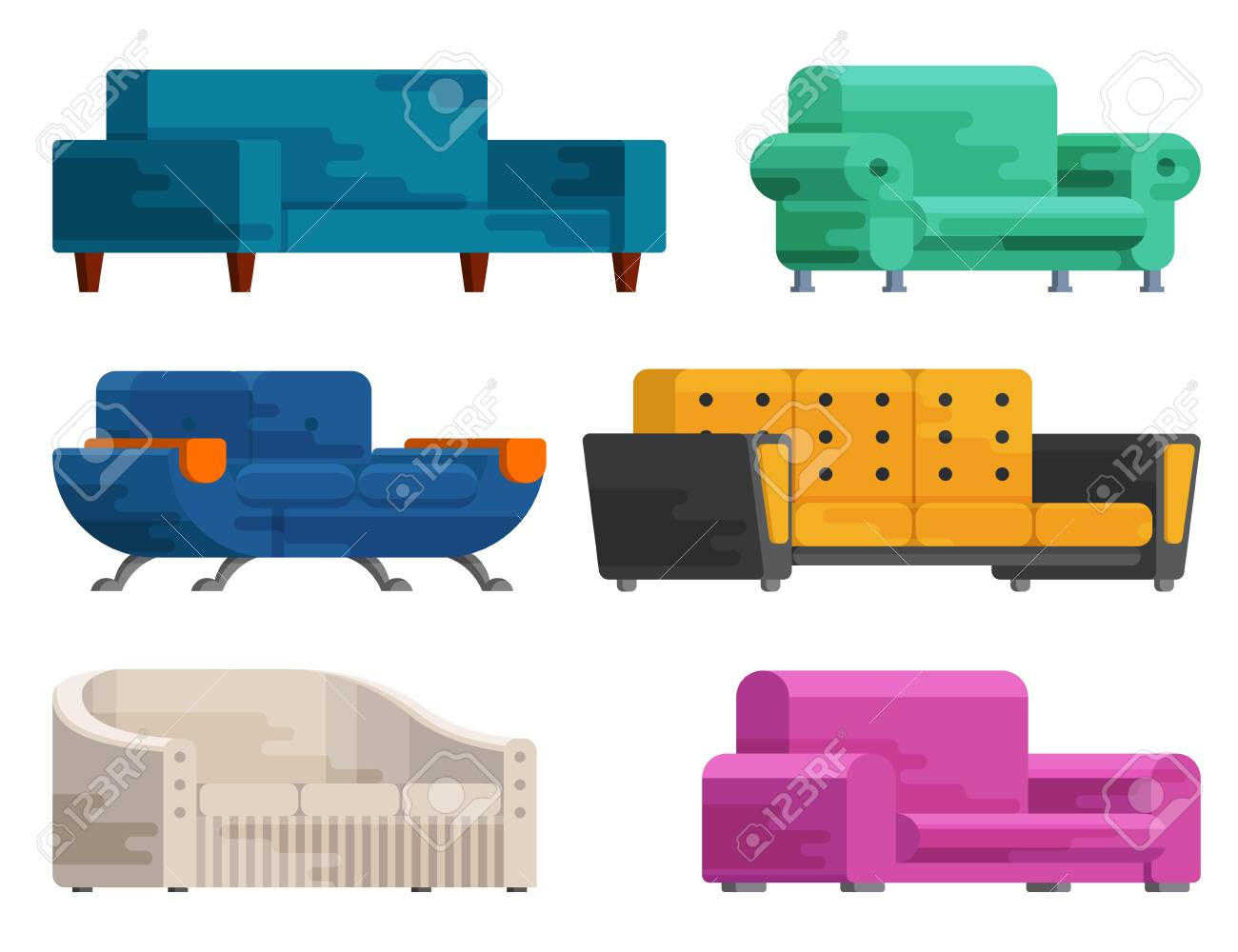 Super Illustration Of Sofa Set In Flat Style Furniture Bedspread Beatyapartments Chair Design Images Beatyapartmentscom