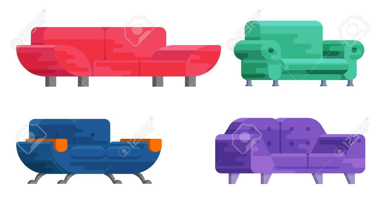 Astounding Illustration Of Sofa Set In Flat Style Furniture Bedspread Beatyapartments Chair Design Images Beatyapartmentscom