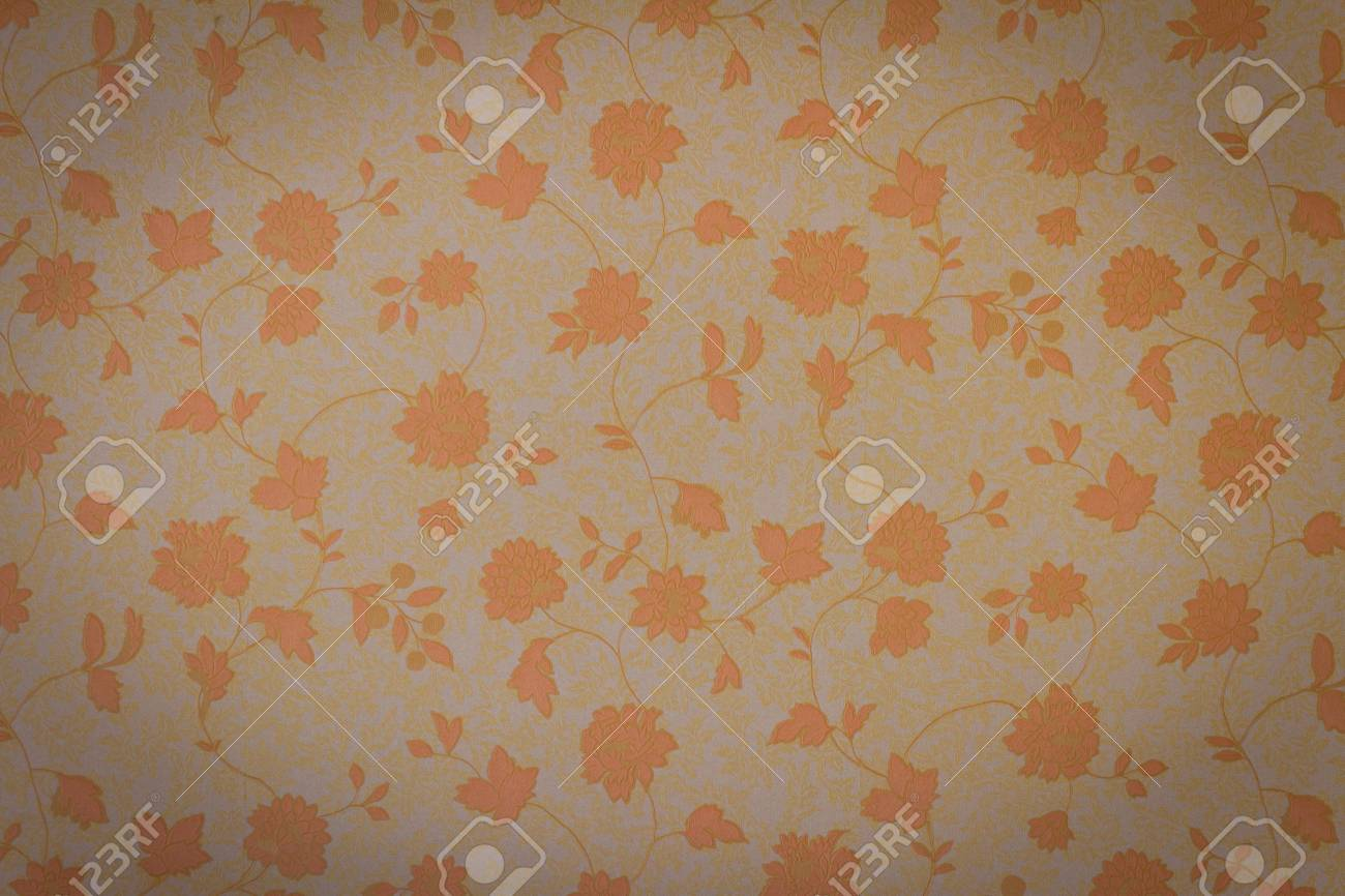 Retro Floral Wallpaper In Brown Design Stock Photo Picture And