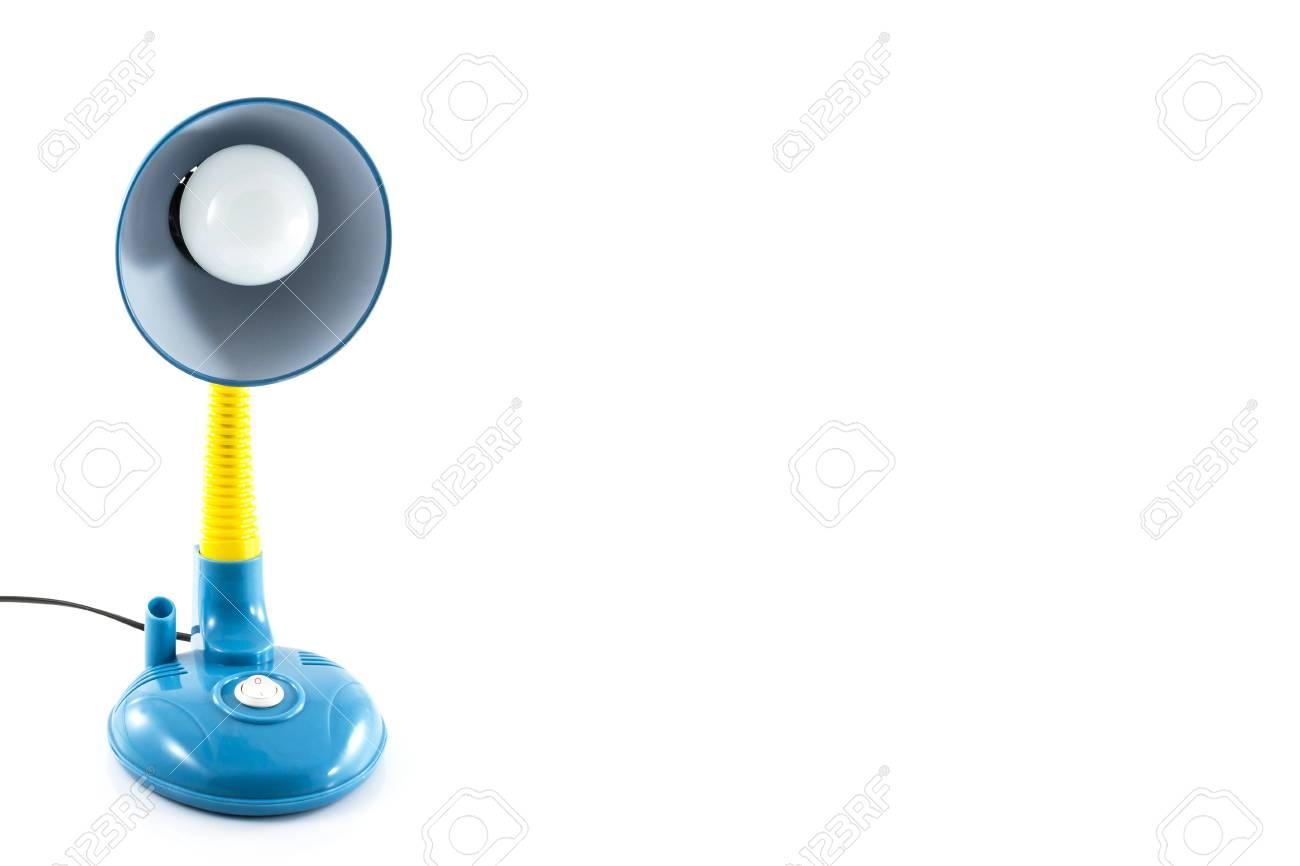 Lampe de bureau bleu et jaune isolé sur fond blanc banque d images
