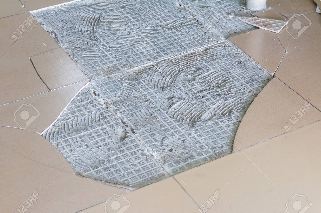 Cracked Floor Ceramic Tiles Background Stock Photo, Picture And ...
