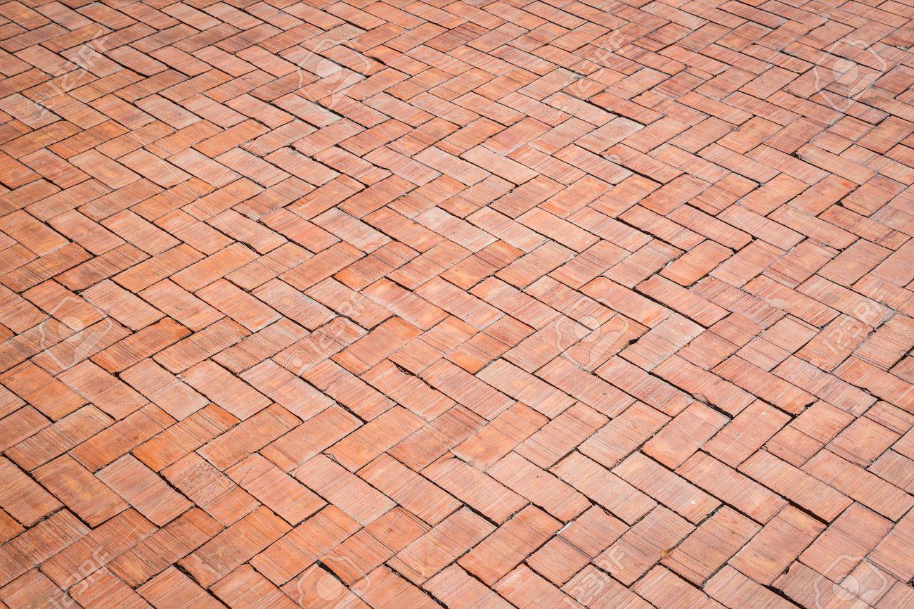 Red Brick Floor Texture Background Stock Photo