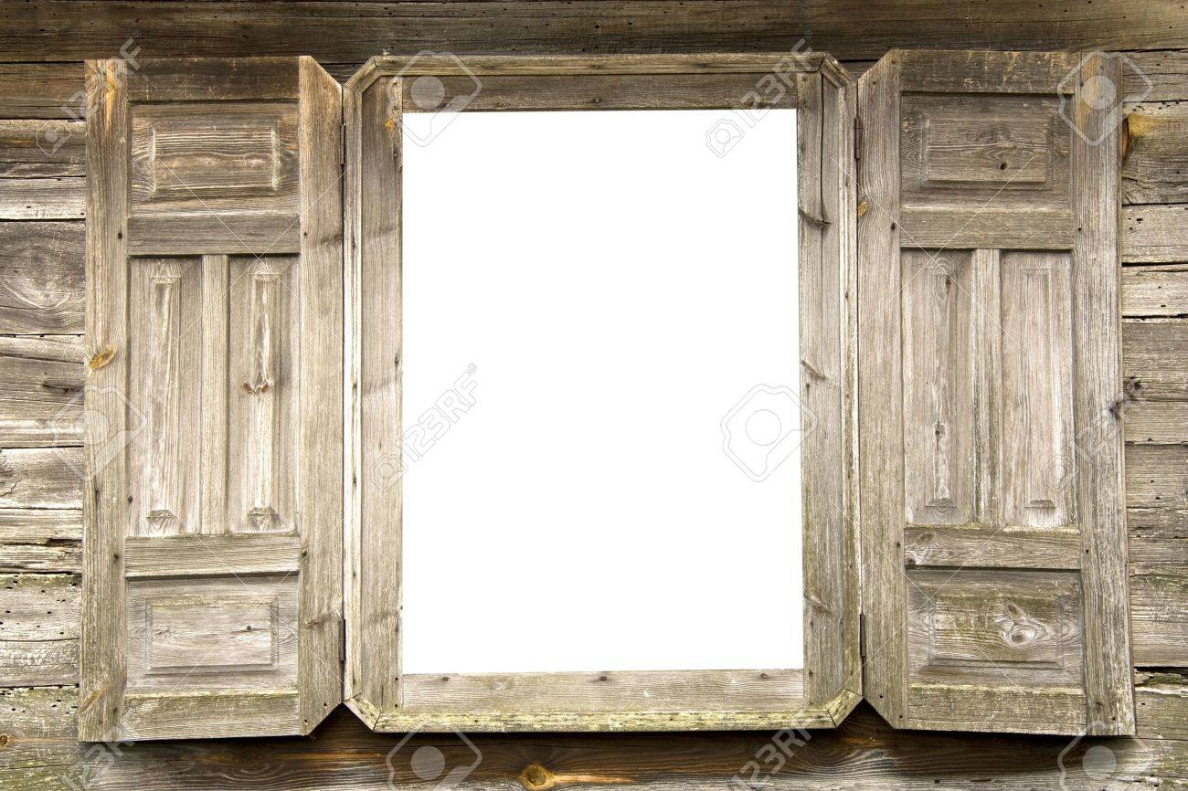 Old Wooden Open Window With White Glasses And With The Opened