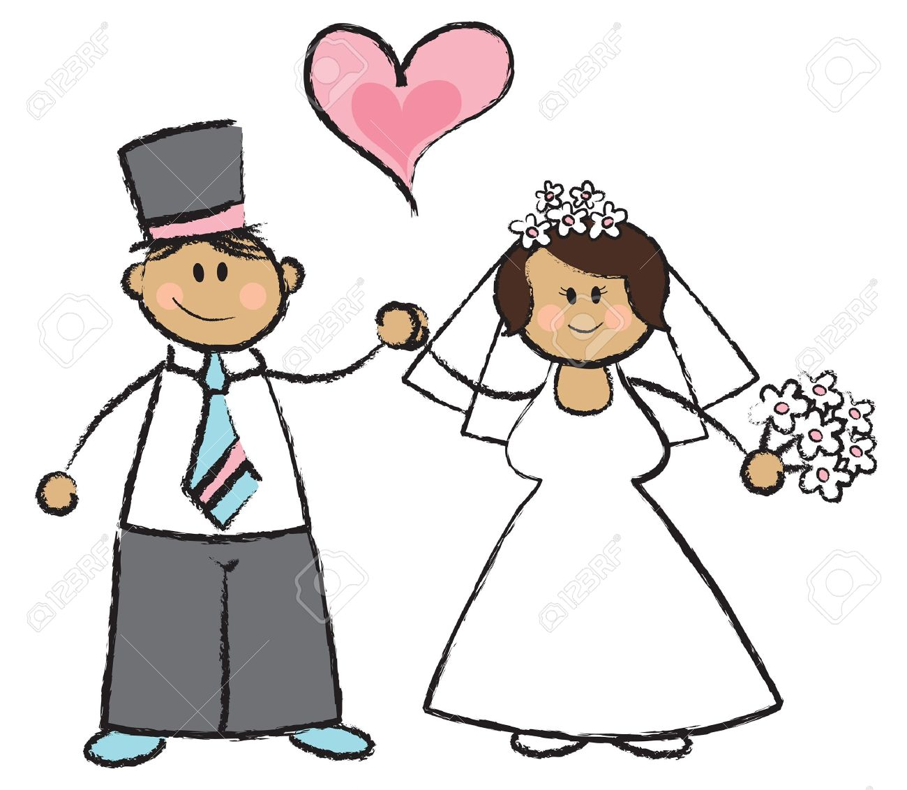 結婚したばかり !-結婚式のカップルのイラスト漫画 ロイヤリティ