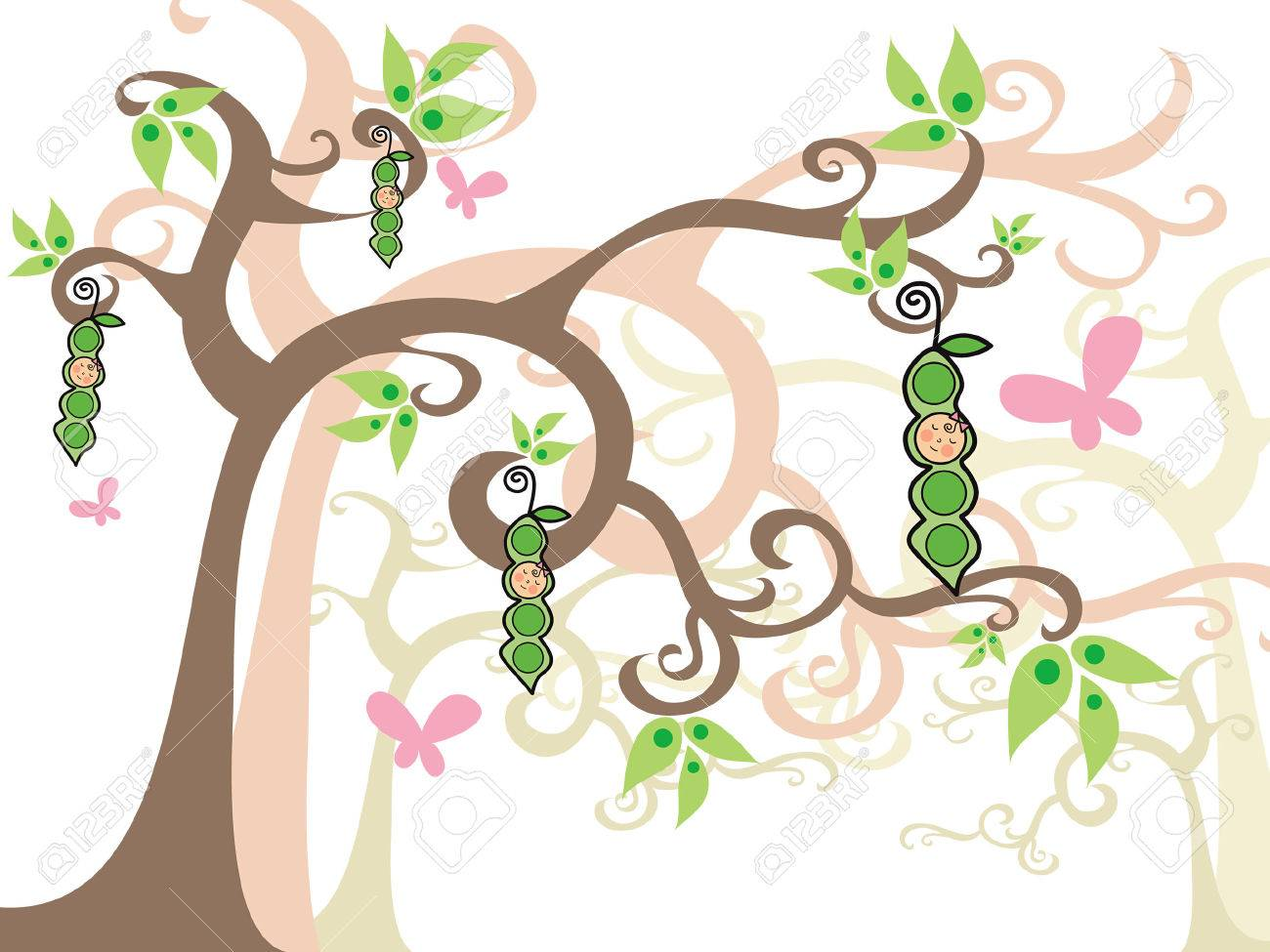 GIRLS peas in a pod (vector) - whimsical illustration Stock Vector - 1399176