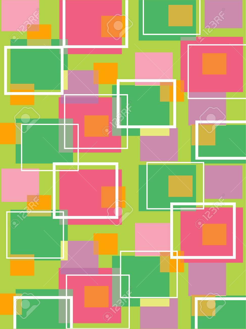 fun retro cubes green and pink (vector) - illustrated background Stock Vector - 1399146