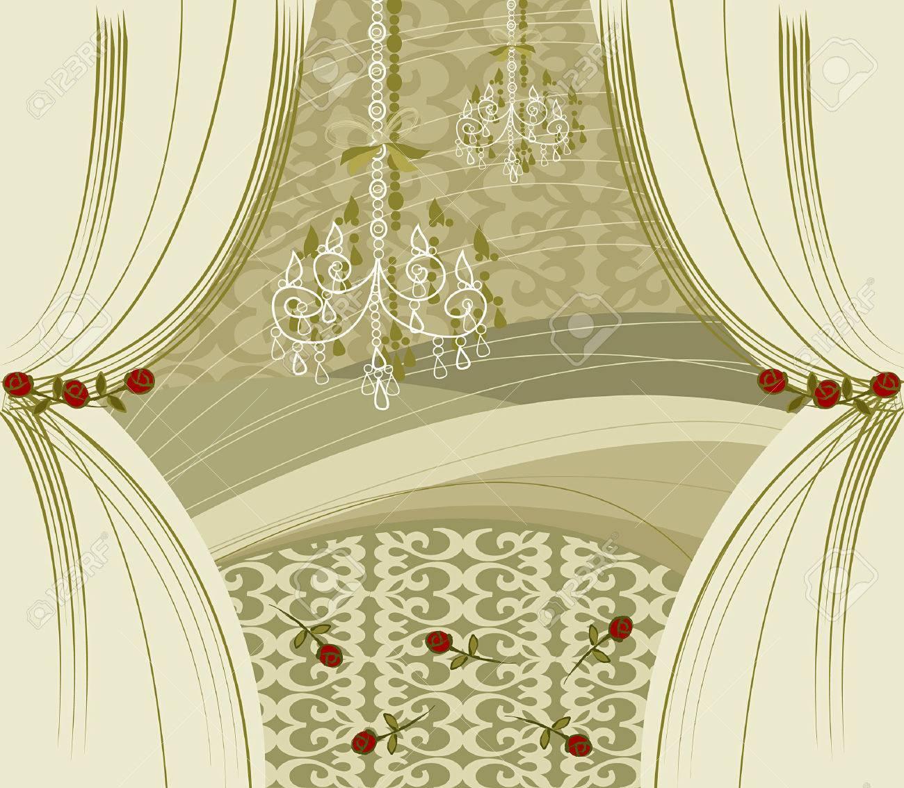 gouden gordijnen vector gellustreerd binnenkant stockfoto 1399257