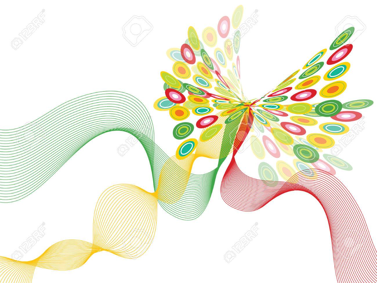 retro pop red, green and yellow butterfly twist on white (vector) - illustration Stock Vector - 1405503
