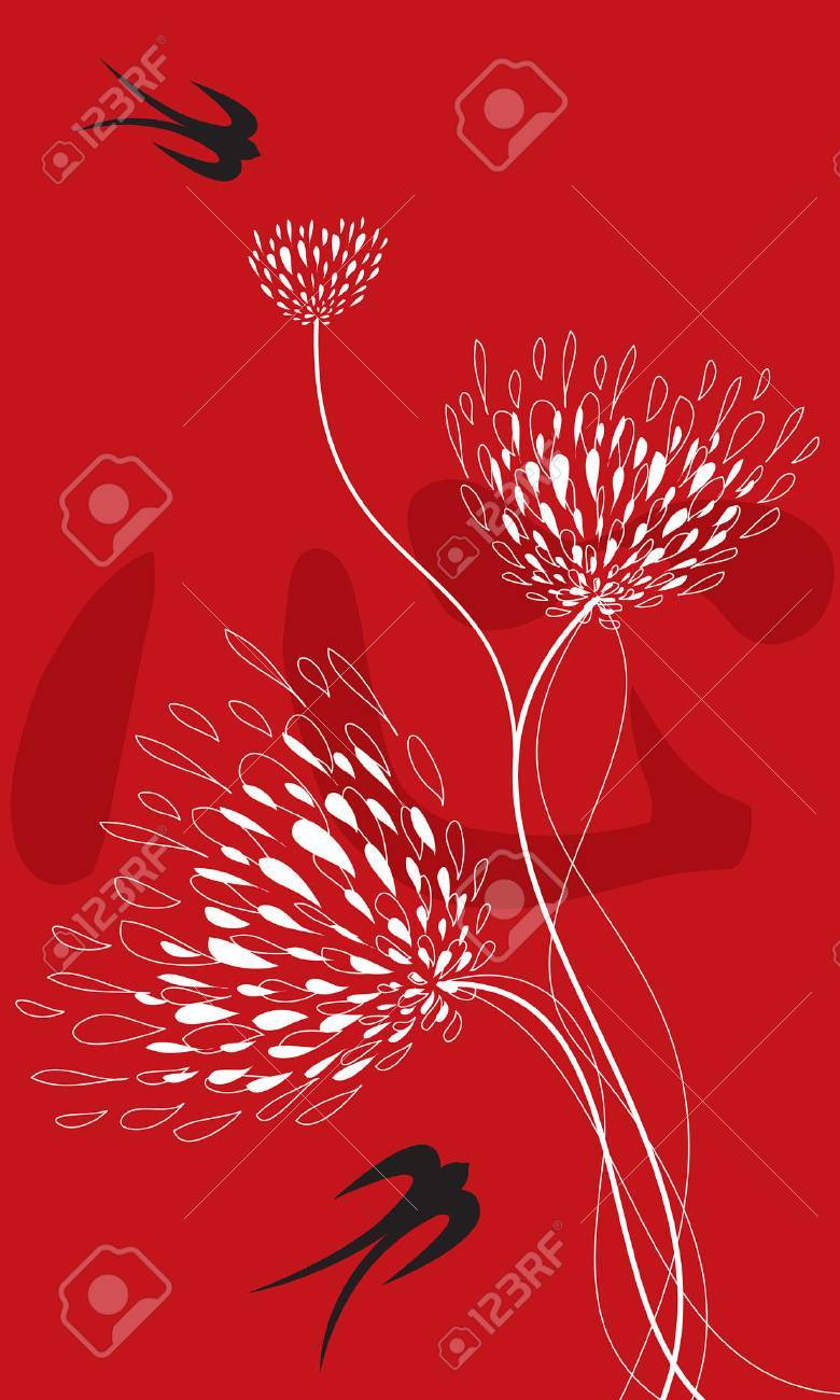 lace flowers, swallows on red (vector) - illustration / chinese word