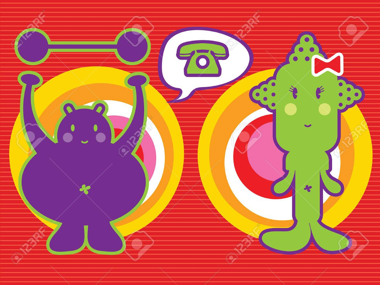 ms skinny and mr. fat (vector) - illustrated cartoon character icon Stock Vector - 1415334
