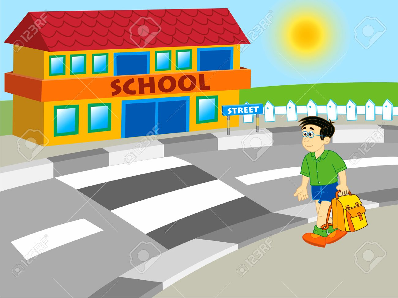 boy going to school - cartoon illustration Stock Vector - 1423512