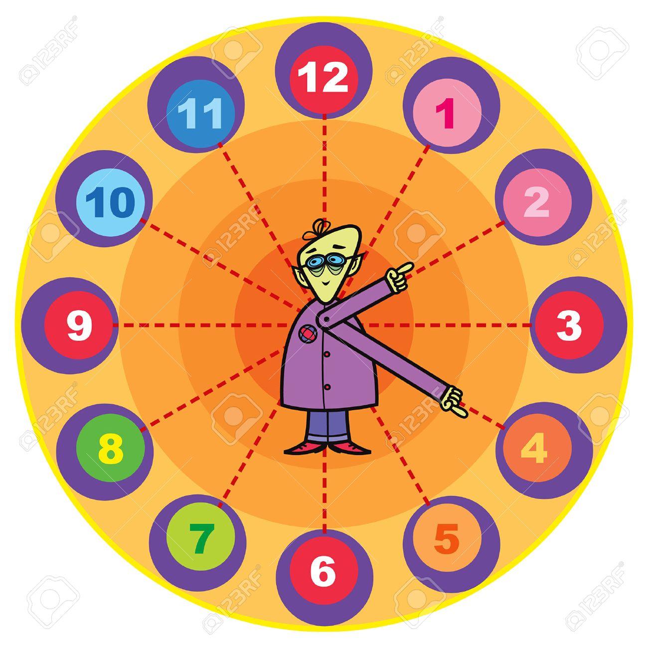 mr. professor cartoon clock Stock Vector - 1815888