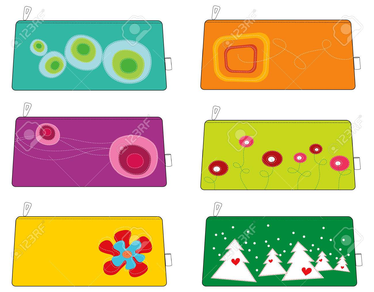 6 colorful funky pouches / bags Stock Vector - 1815890