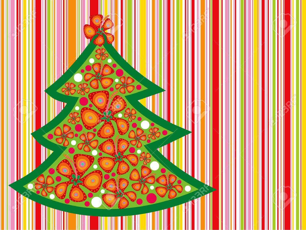 tropical christmas tree on candy red stripes Stock Vector - 1815928