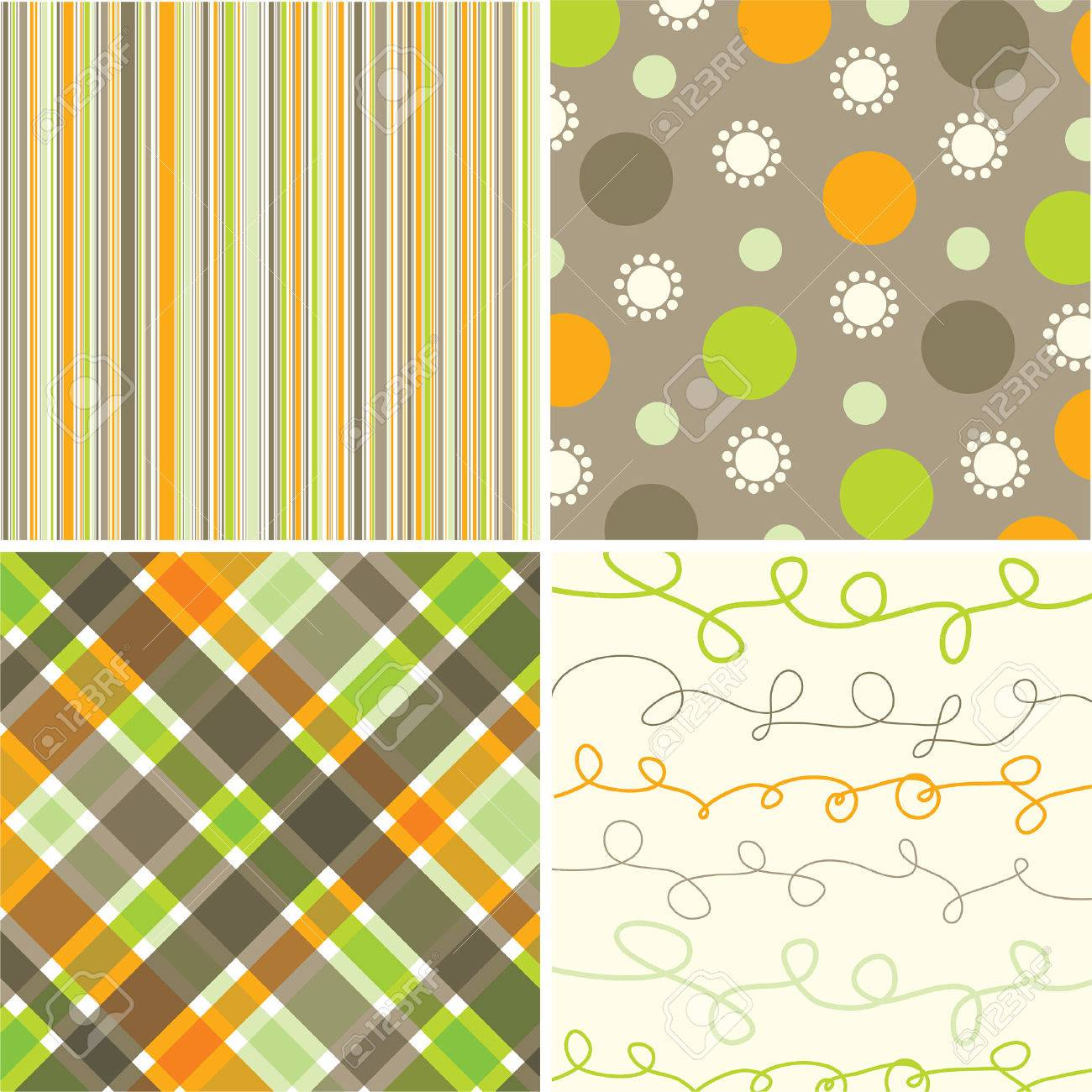 retro orange green brown pattern combo - illustrated pattern Stock Vector - 1827236