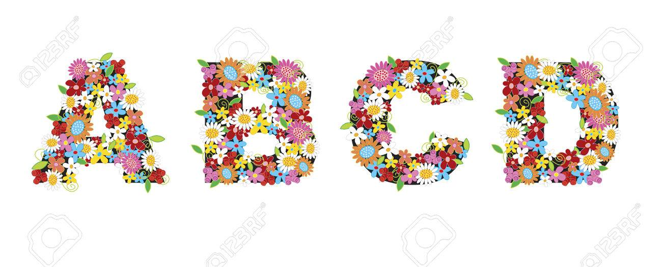 spring flowers ALPHABETS - ABCD (part of a complete set) Stock Vector - 1827279