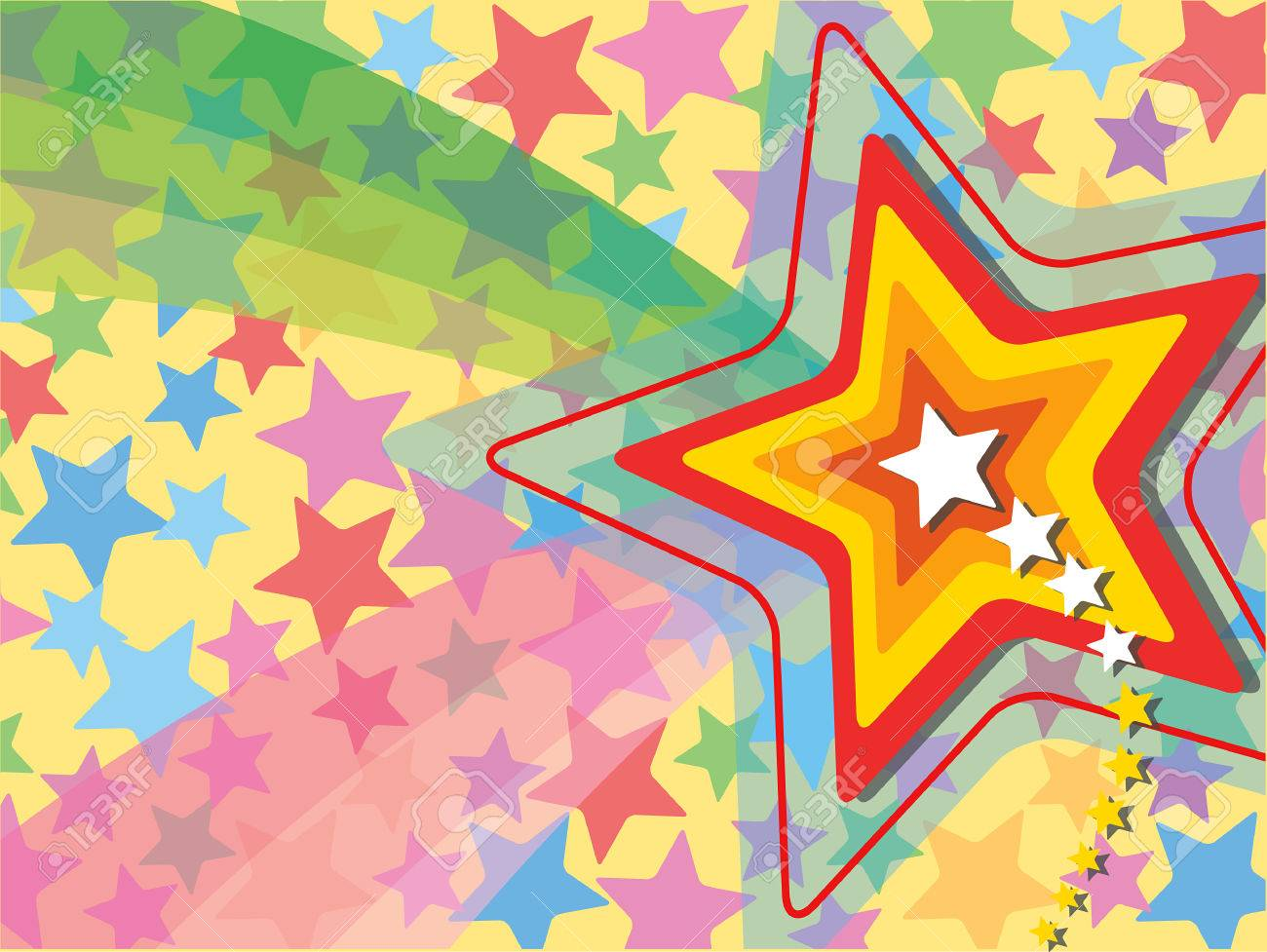 retro pop rainbow shooting star Stock Vector - 1815950