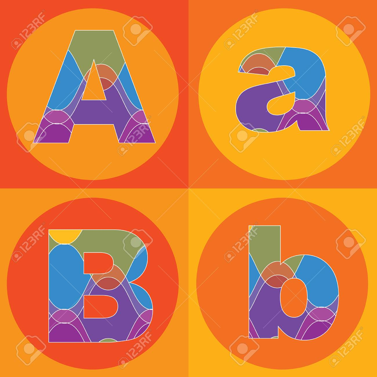 funky groovy lines ALPHABETS quads - part of a complete set Stock Vector - 1951504