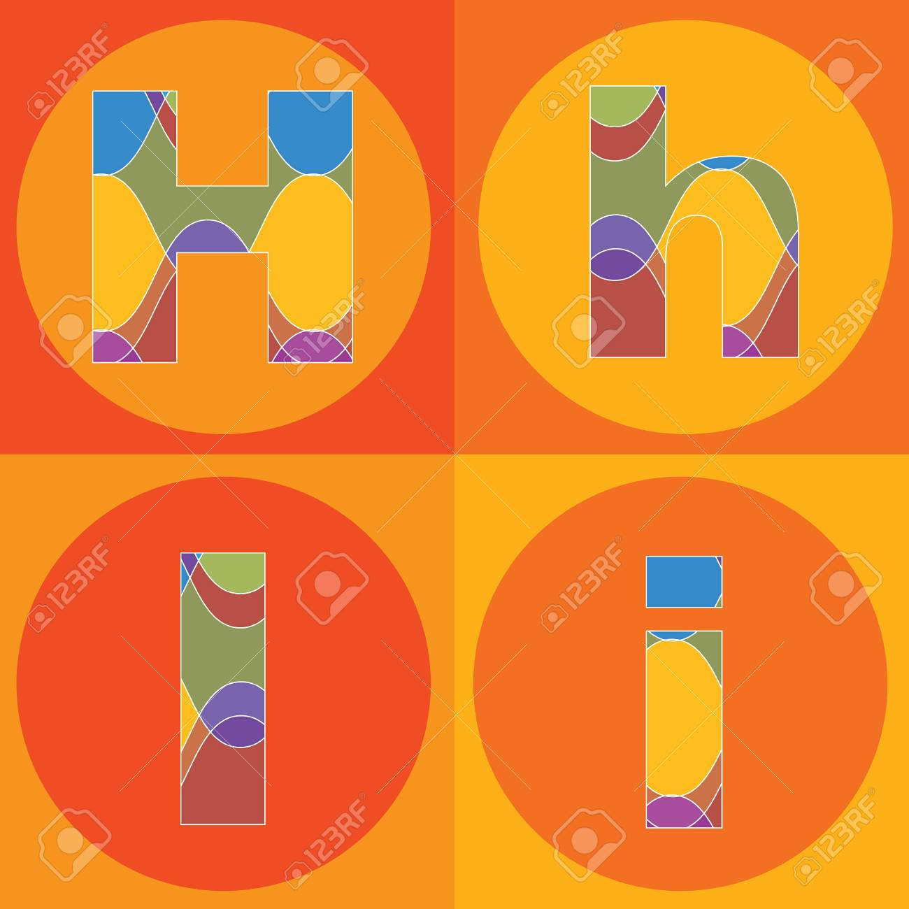 funky groovy lines ALPHABETS quads - part of a complete set Stock Vector - 1951503