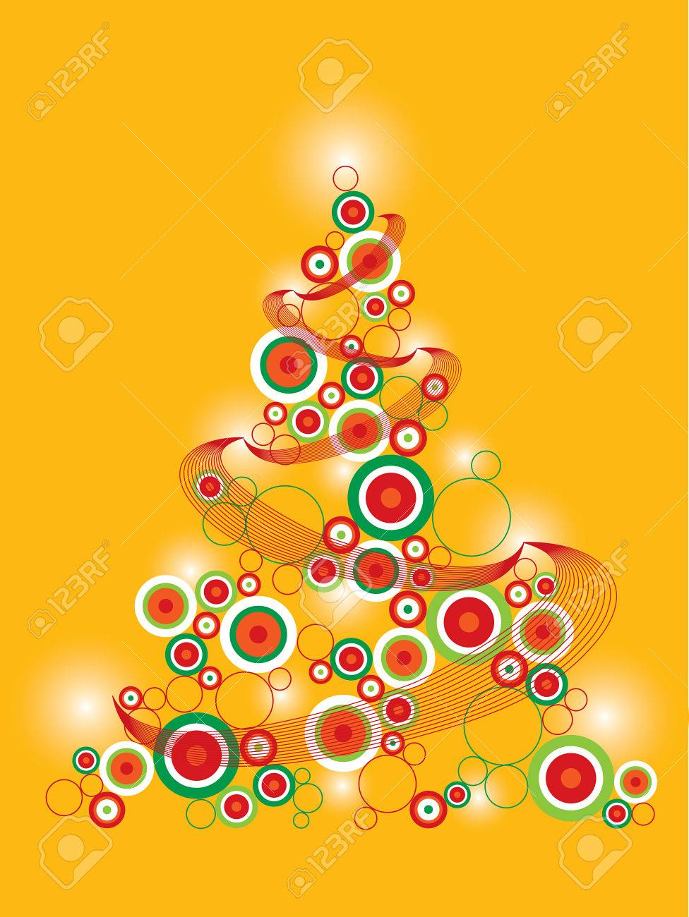 Retro Funky Christmas Tree On Yellow (vector) Royalty Free ...