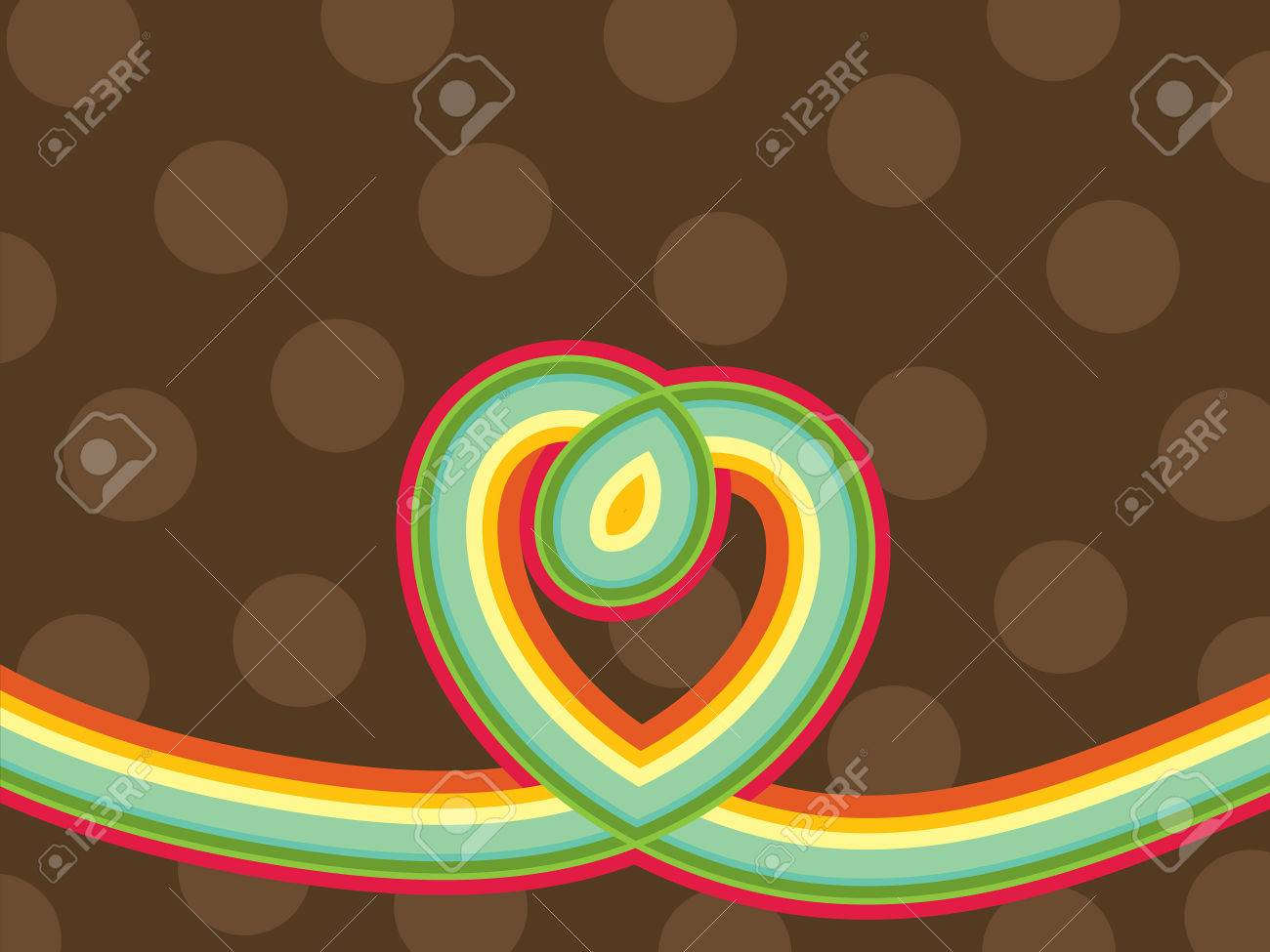 retro pop rainbow line loopy heart and polka dots (vector) Stock Vector - 2033933
