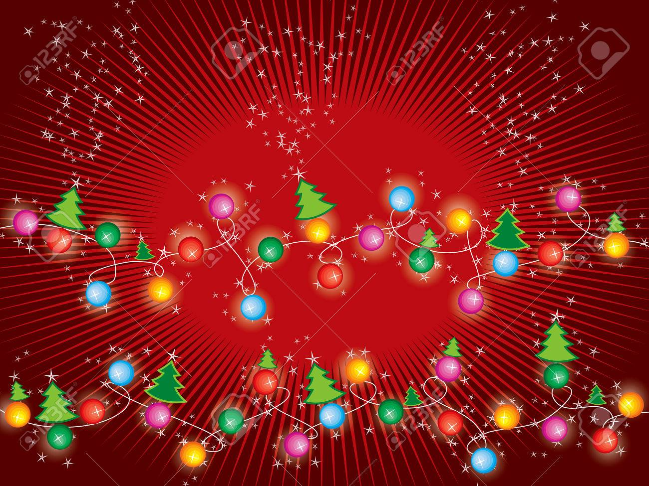 sparkling stars christmas trees and lights Stock Vector - 2079339