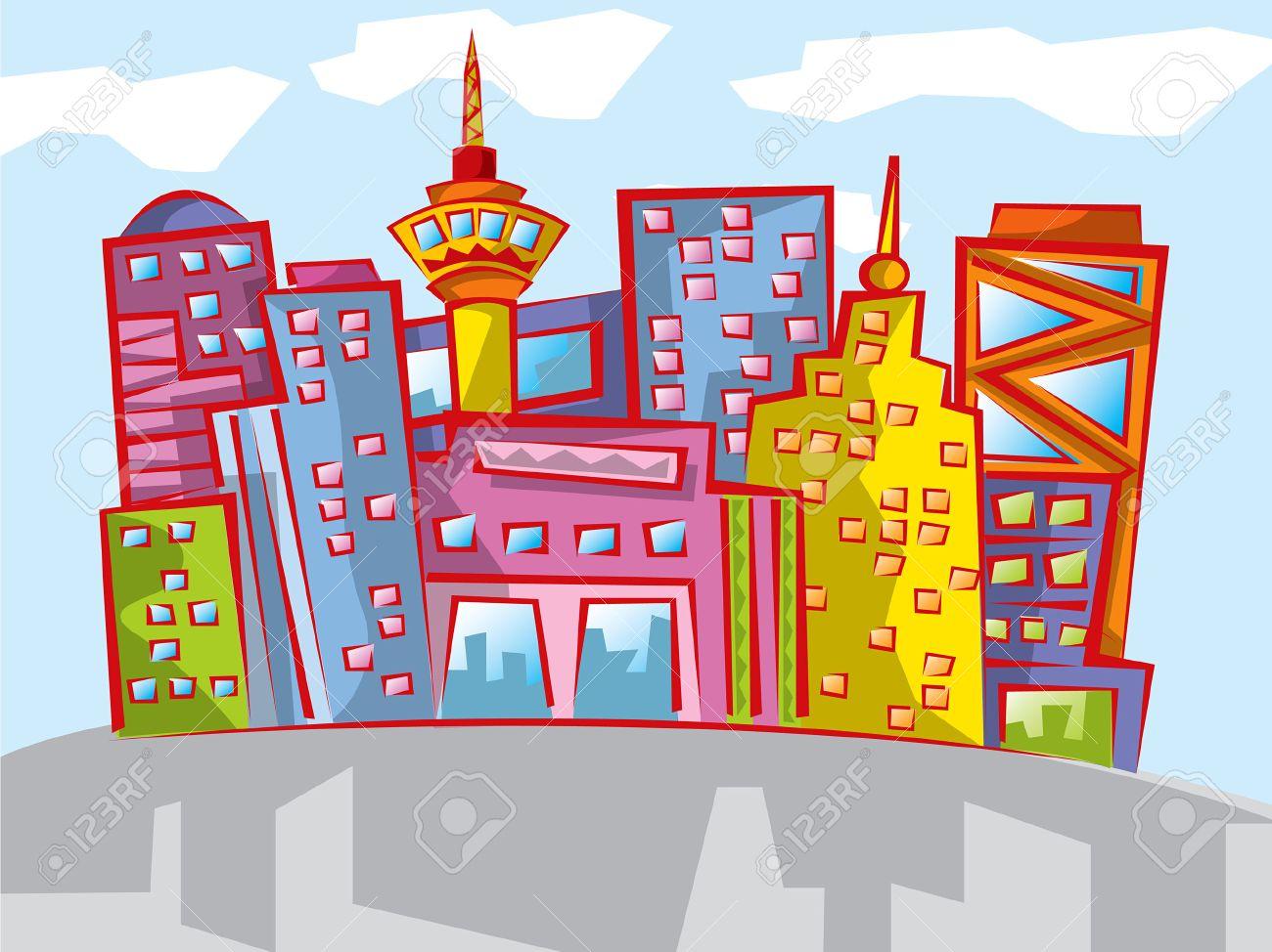 Fun colorful cartoon cityscape Stock Vector - 2092913