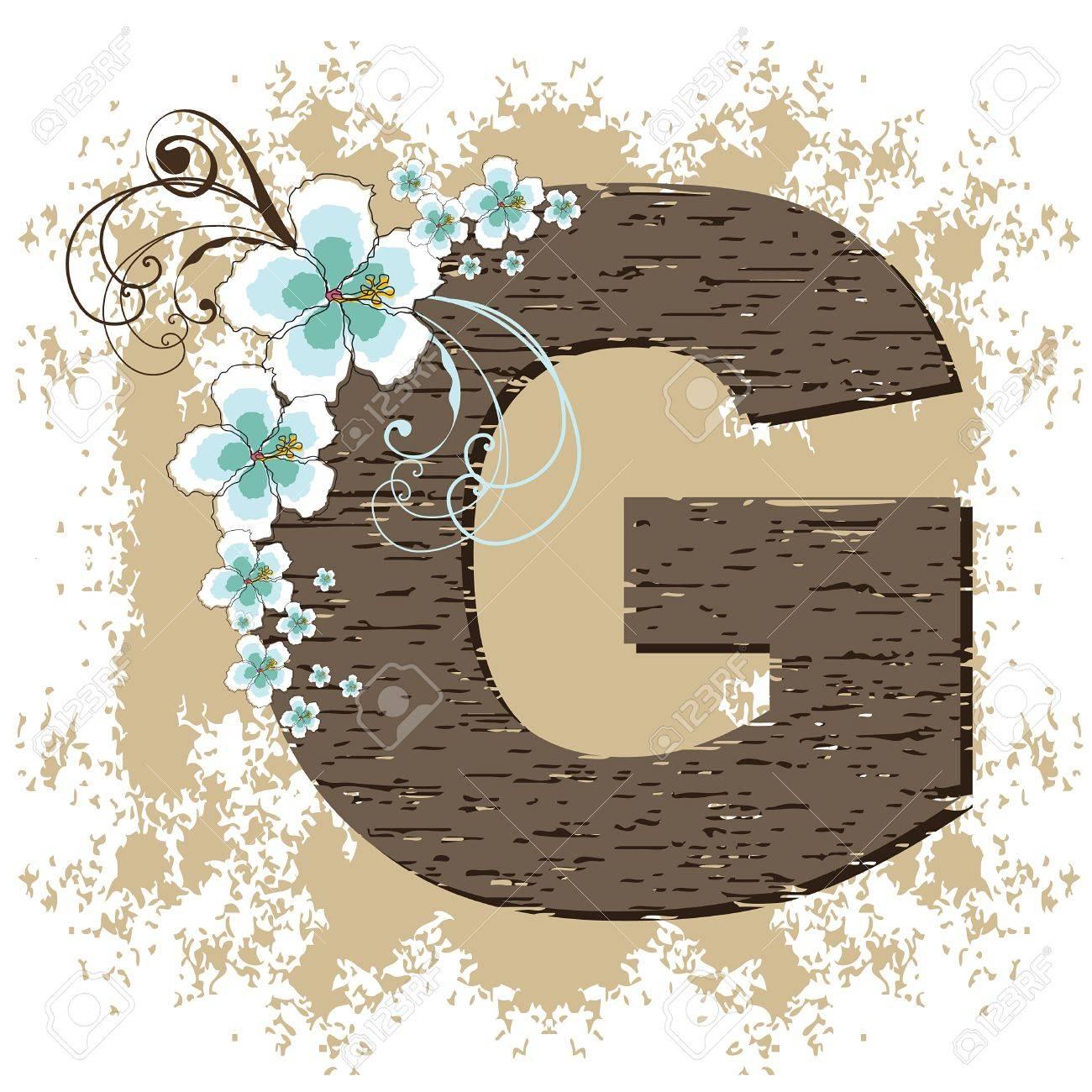 blue hibiscus grunge vintage alphabet G Stock Vector - 2262905