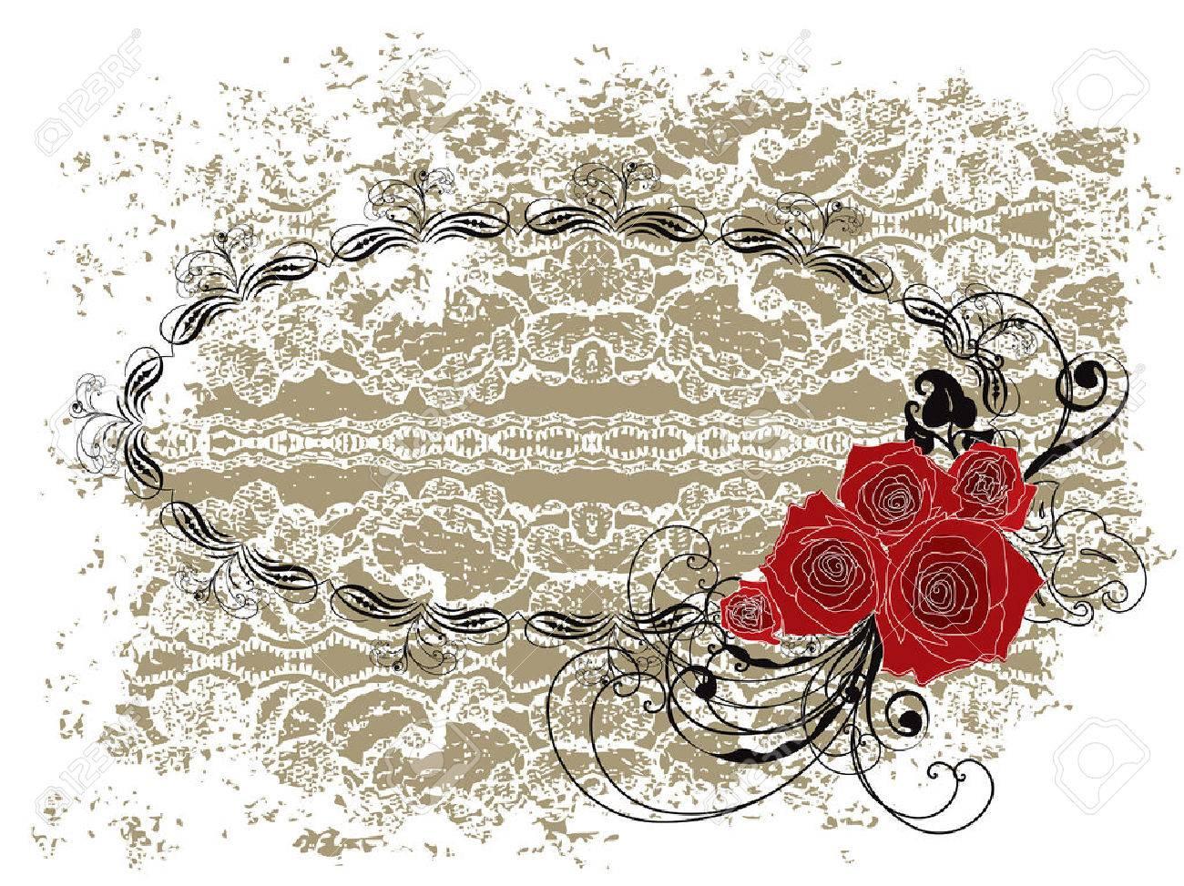 Schnüren Sie Sich Ovales Rahmen Valentine Rote Rosen Und Strudel ...