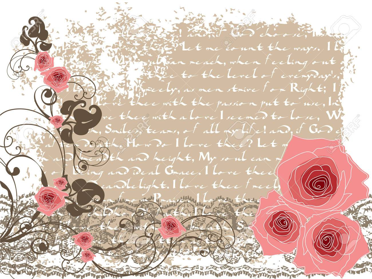 sweet pink roses and vintage poem royalty free cliparts vectors
