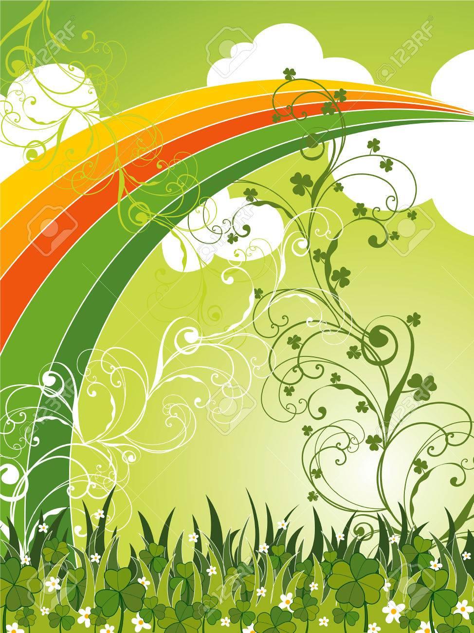 saint patrick field of clovers and rainbow (vector) Stock Vector - 2646268