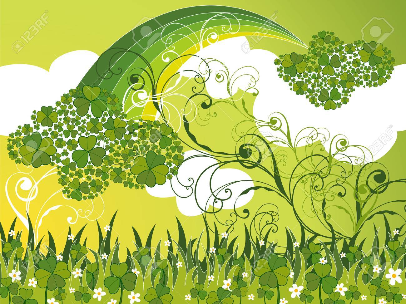 saint patrick clover clouds and swirls (vector) Stock Vector - 2646271
