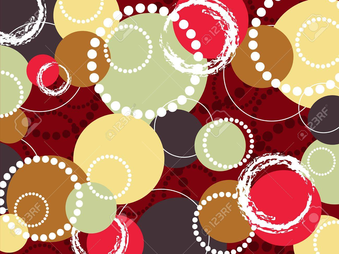 retro pop colorful brown red circles and dots (vector) Stock Vector - 2758278