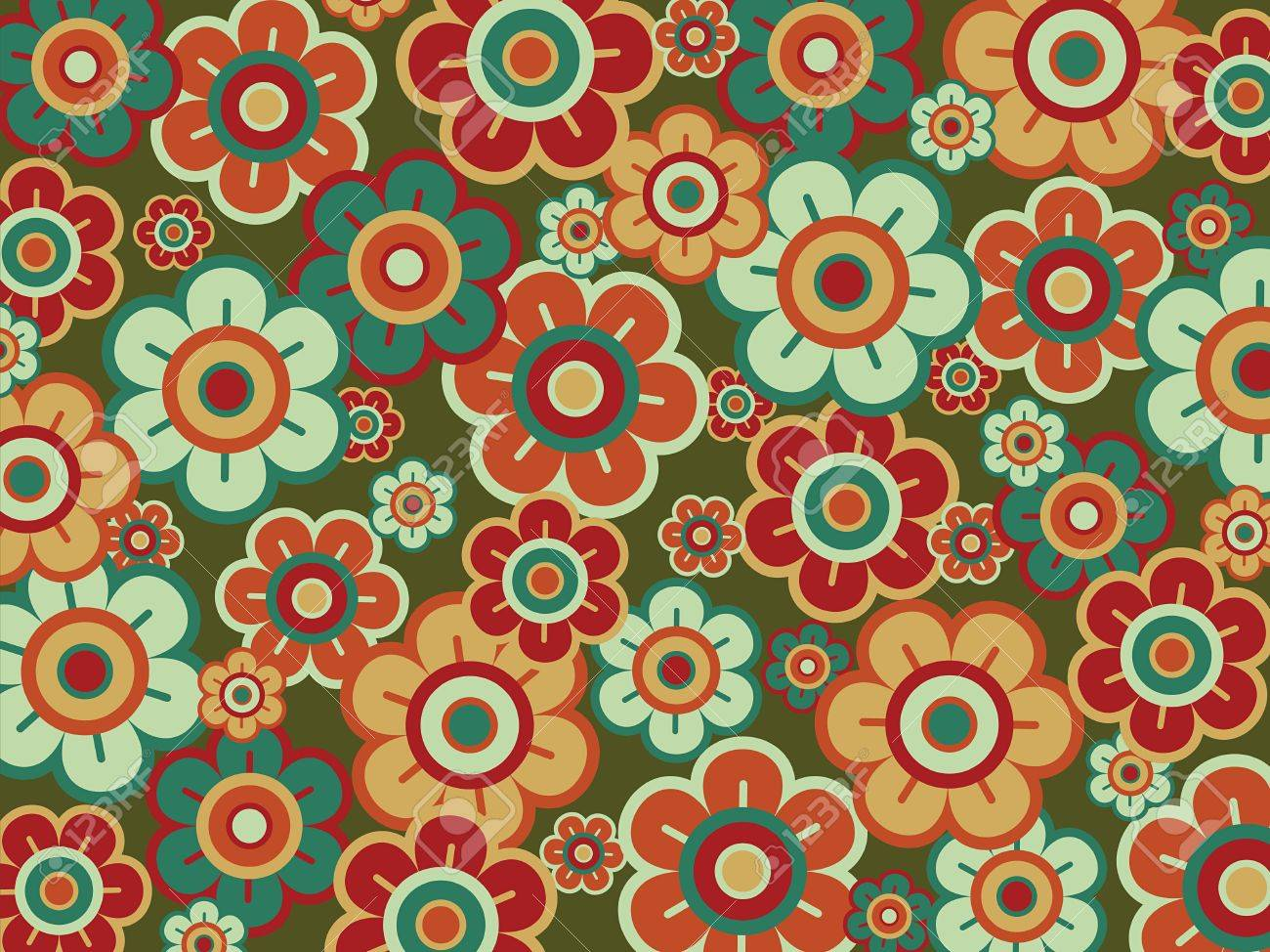 retro pop red green daisies (vector) Stock Vector - 2770757