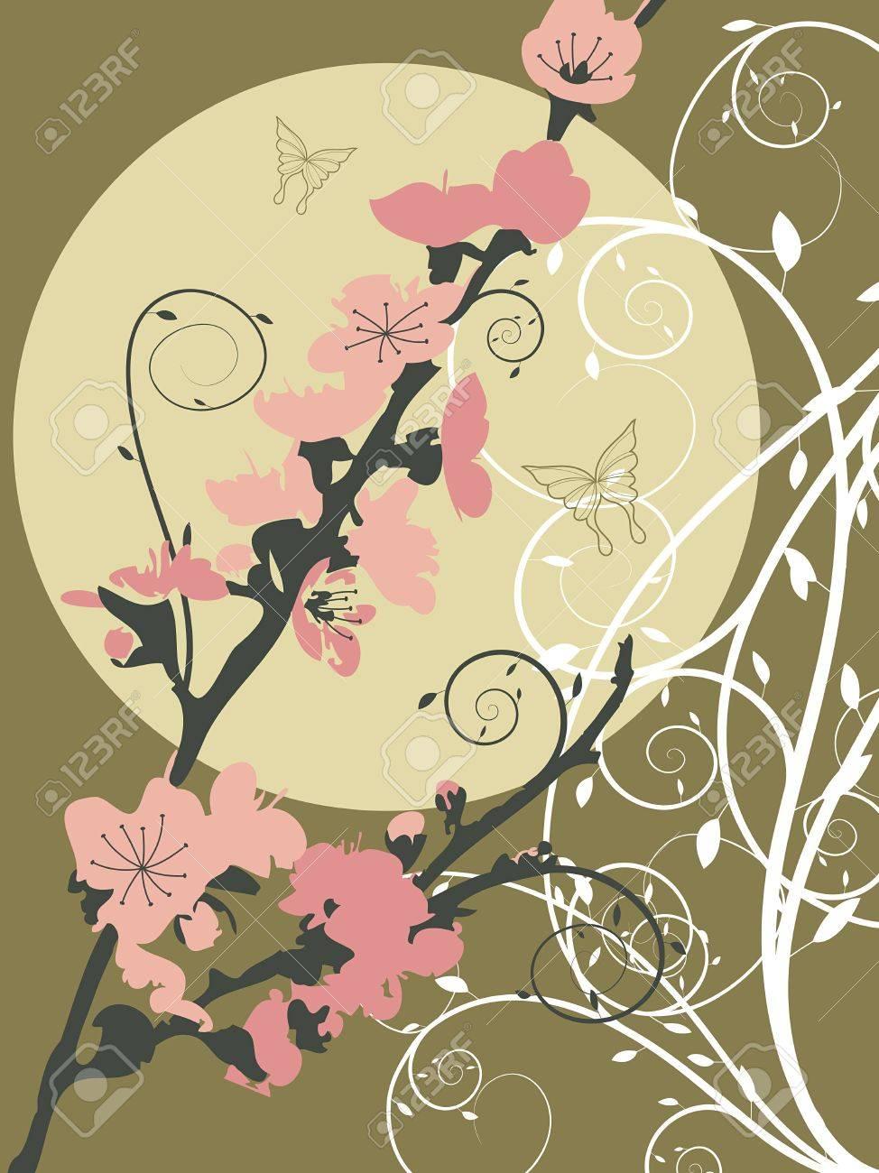 pink sakura moon swirl (vector) - illustration Stock Vector - 2817431