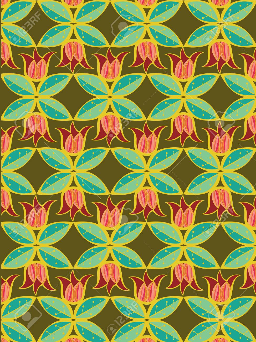 tulip and leaves pattern - illustration Stock Vector - 2919985