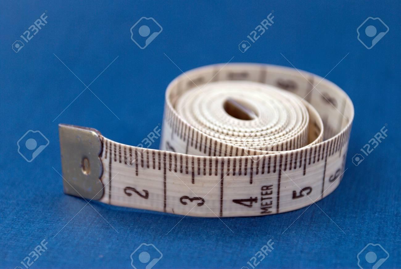 Isolated centimeter on blue background Stock Photo - 3523768