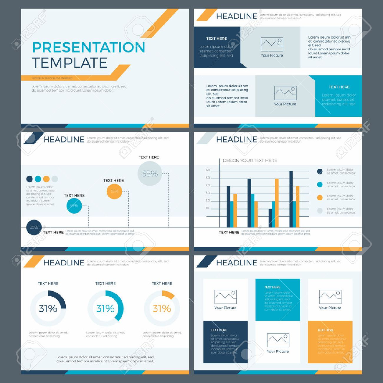 presentation template concept of business team work and marketing, Presentation templates