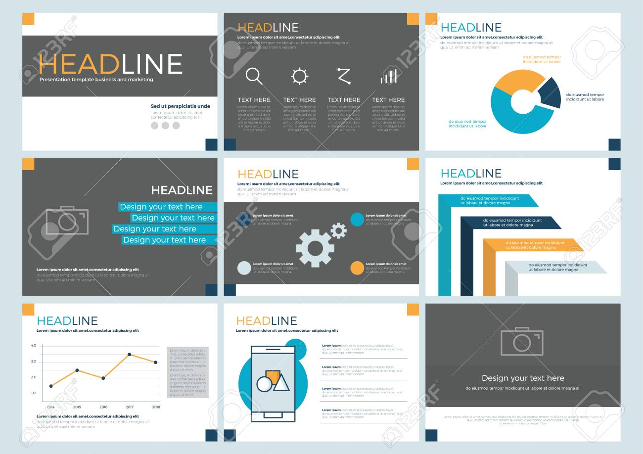 power point set presentation template layout design background