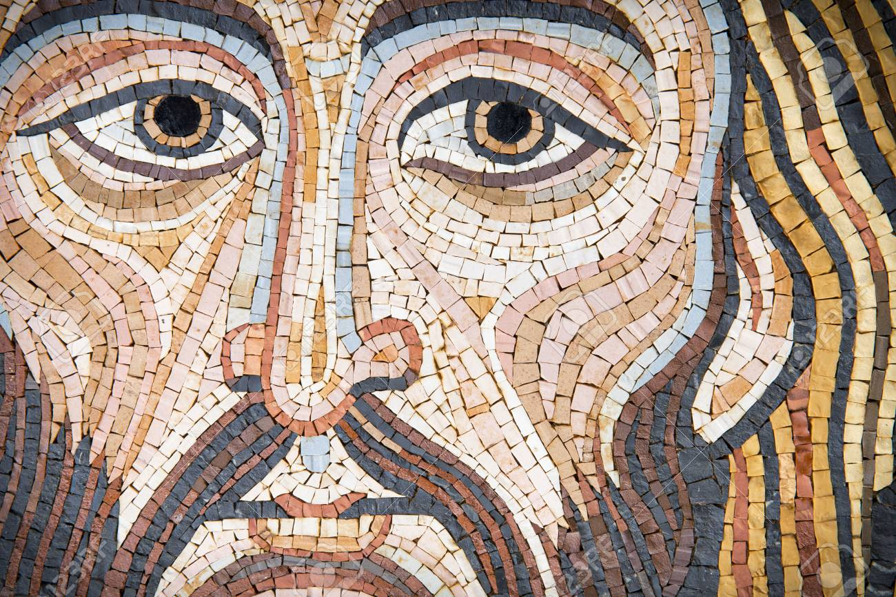 Jesus Christ in a modern mosaic made with ancient techniques. The mosaic has been made by a sicilian artist (release is provdided) , and it looks like the Pantokrator in cethedrals. - 89481503