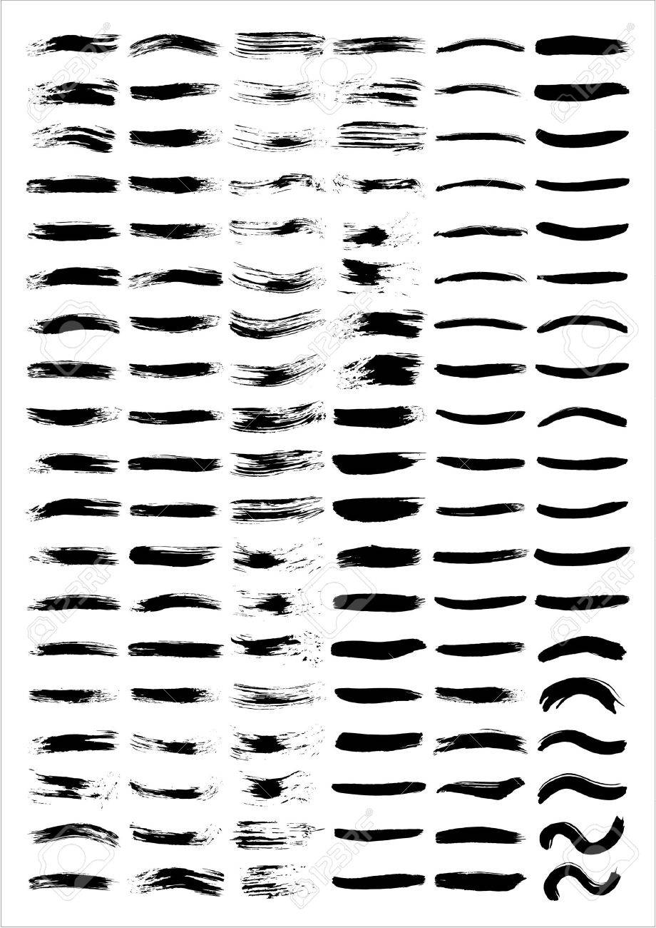 A set of vectorized grungy brush lines Stock Vector - 8186243