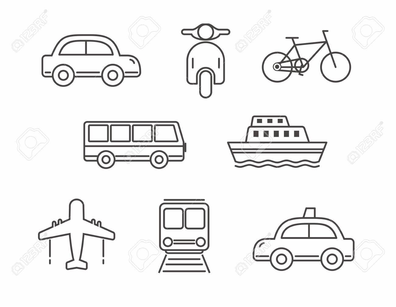 Set of transportation icon line design, transportation - 118844000