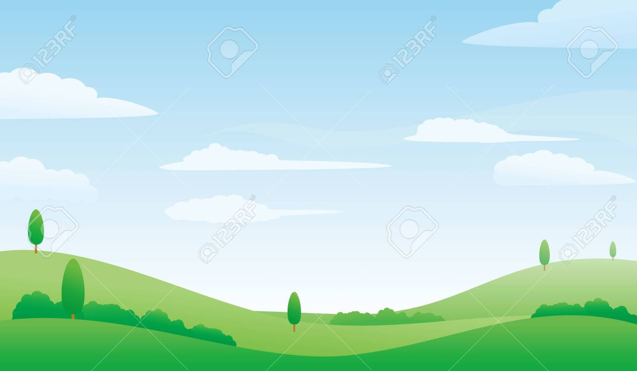 Nature Landscape Vector Illustration Meadow And Bright Sky Vector
