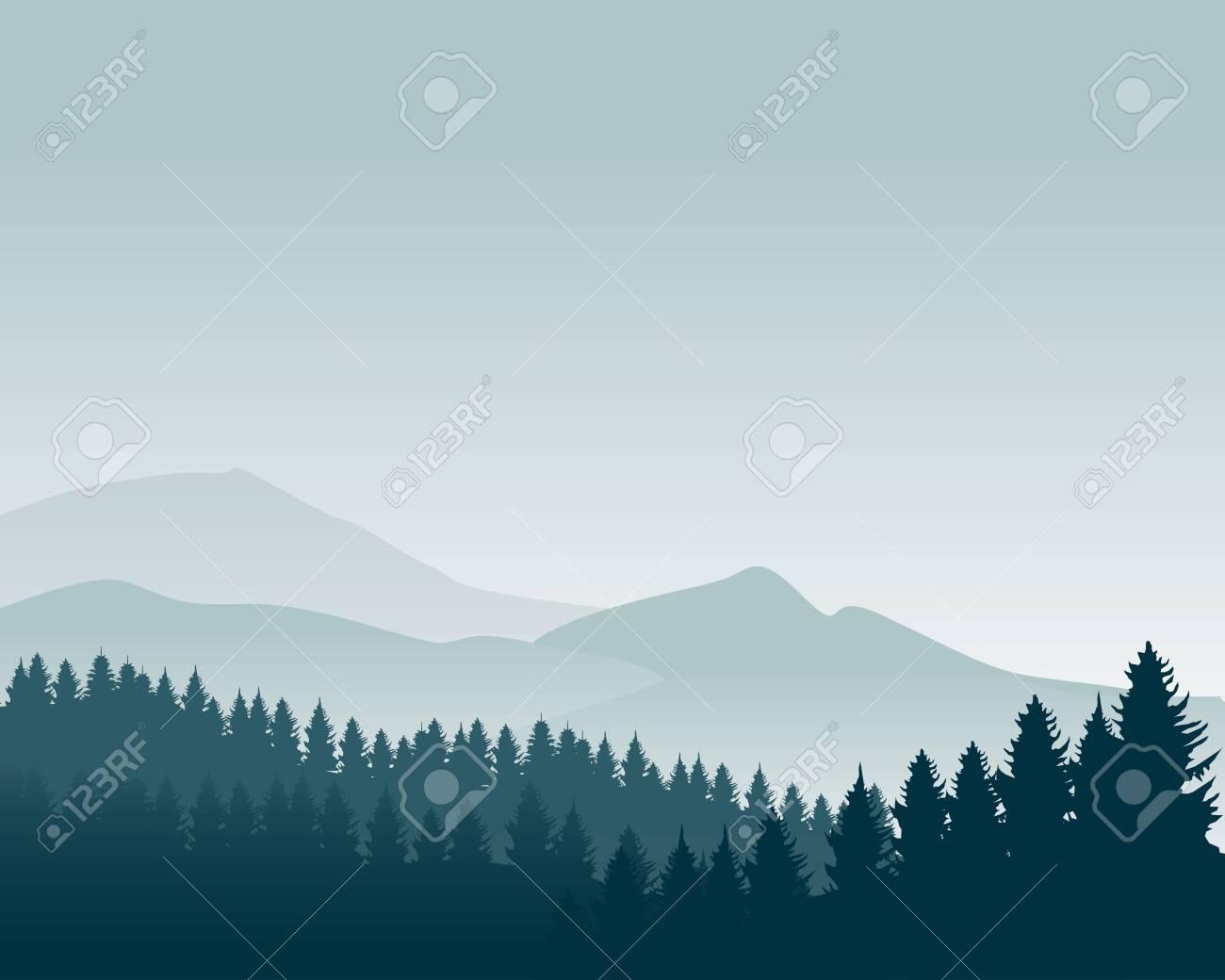 Nature Landscape Silhouette Vector Illustration Mountain