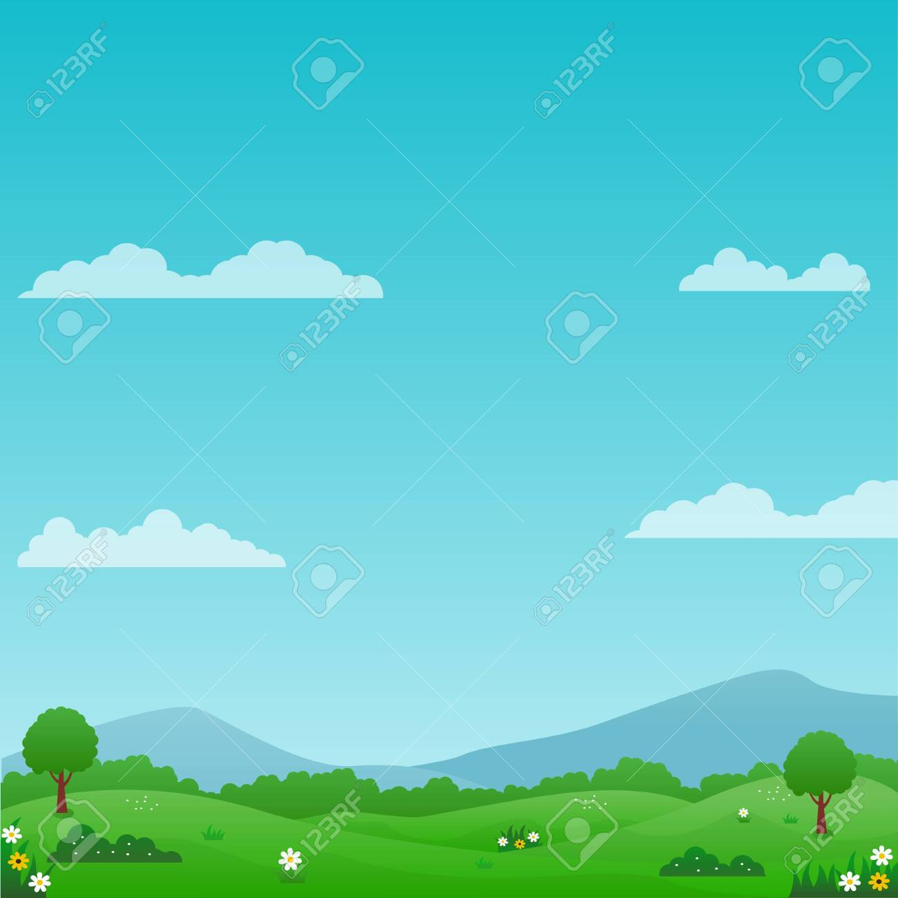 Beautiful nature landscape vector illustration with bright sky, green meadow and flowers suitable for summer background or kids background - 143071103