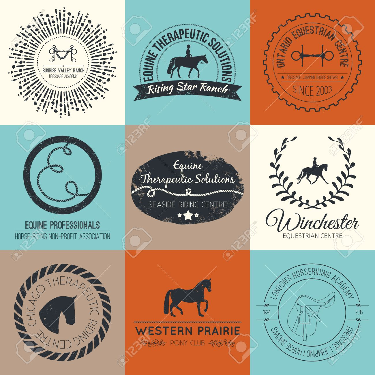 Equine Vintage Vector Logo Perfect Horse Related Business Symbols Royalty Free Cliparts Vectors And Stock Illustration Image 34218524