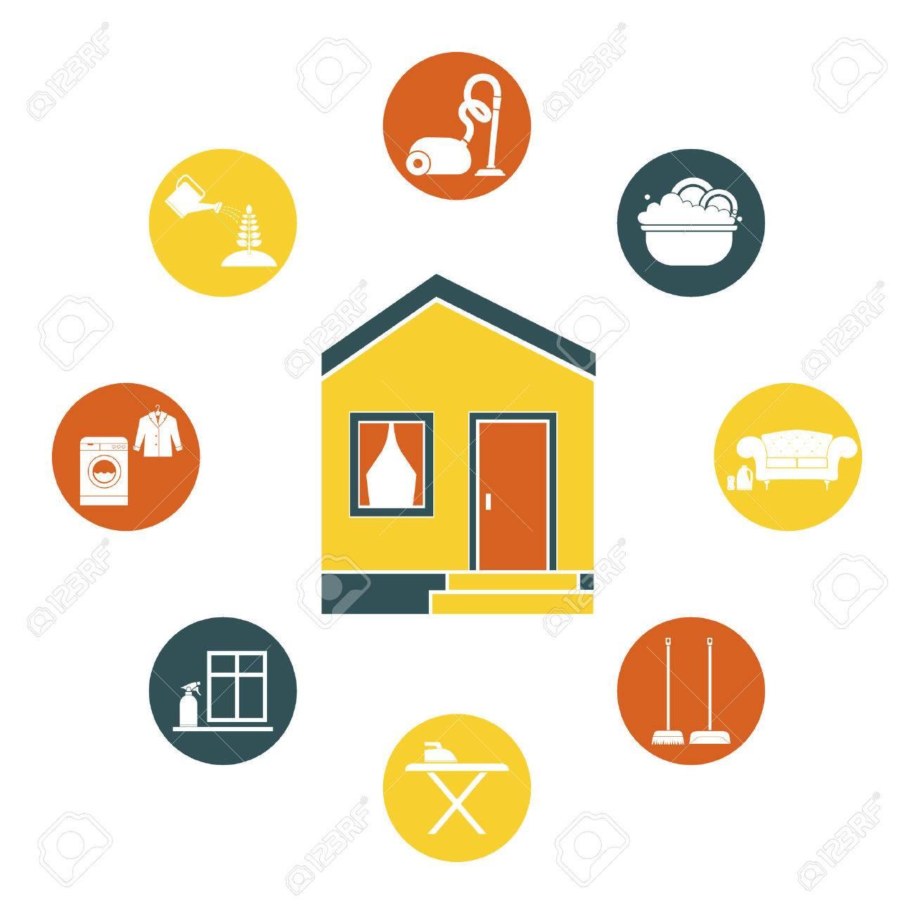 Casa De Limpieza Vector - Planchar, Lavar Platos, Limpieza Por ...