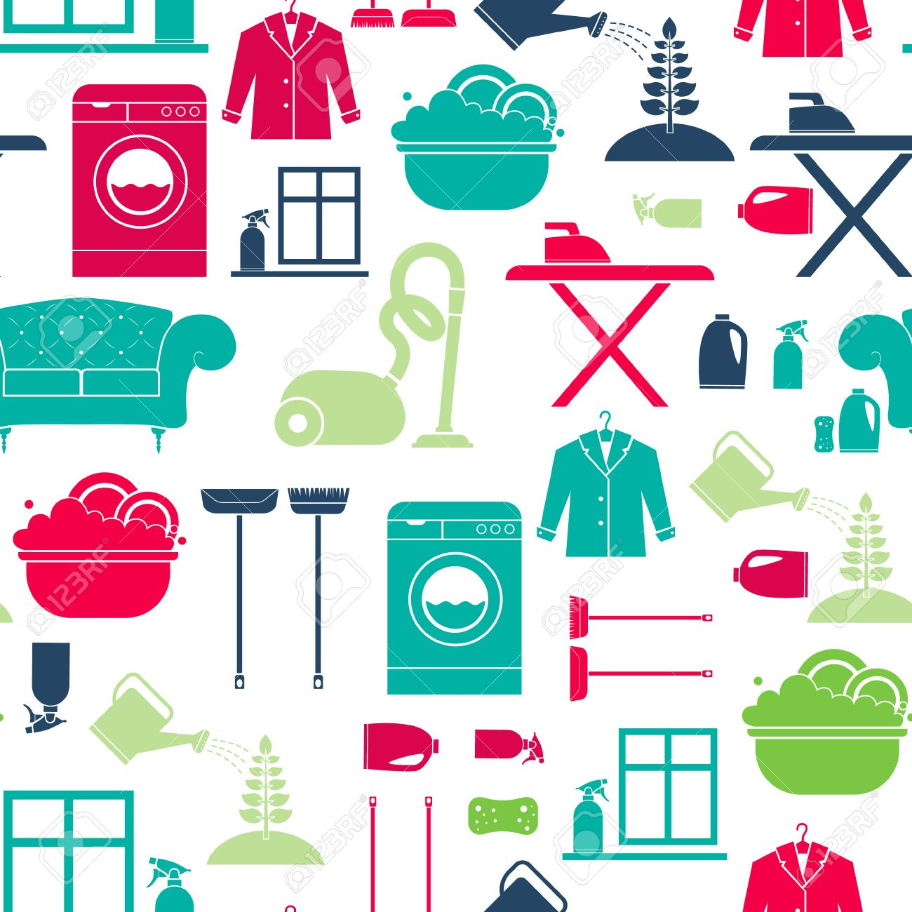 Seamless Vector Background With House Cleaning Items   Washing Mashine,  Plant Care, Dry Clean